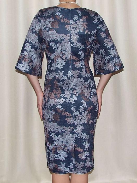 Rochie tricotata cu imprimeu si nasturi decorativi - Carla Floral 2