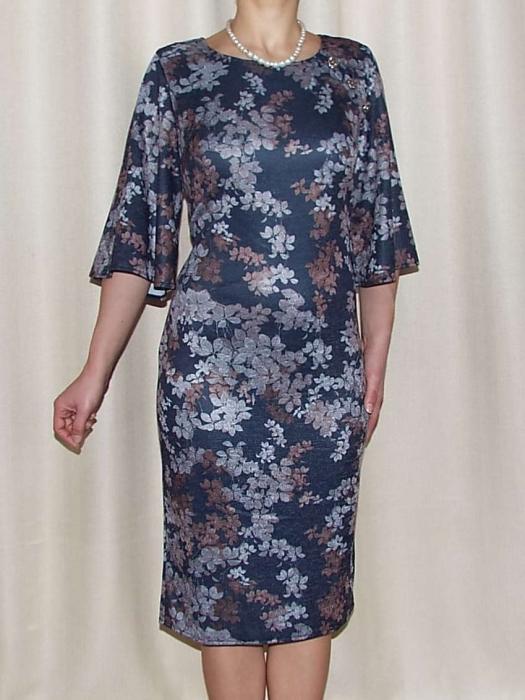 Rochie tricotata cu imprimeu si nasturi decorativi - Carla Floral 1