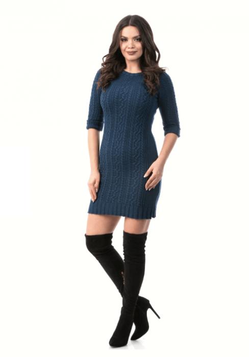Rochie tricotata cu maneca trei sferturi – R2002 Albastru Inchis 0