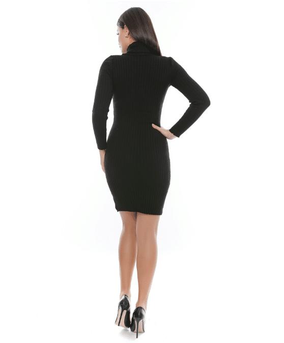Rochie tricotata neagra cu guler si maneca lunga - R Tricot 3 [1]