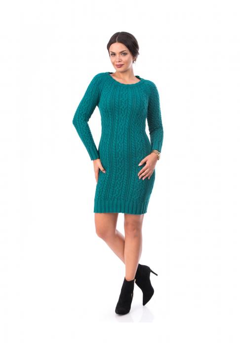 Rochie tricotata turcoaz cu maneca lunga - R2001T 0