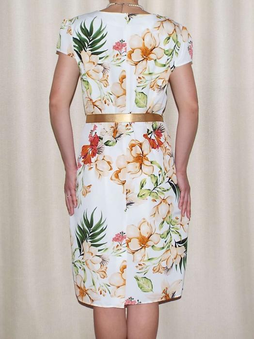 Rochie vaporoasa cu imprimeu floral si cordon - Alina Alb 1