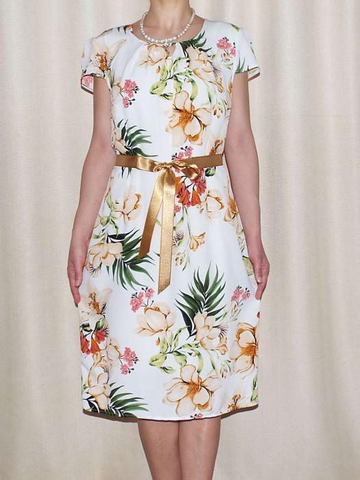 Rochie vaporoasa cu imprimeu floral si cordon - Alina Alb 0