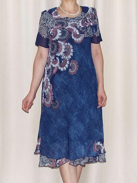 Rochie vaporoasa din voal cu brosa nedetasabila - Alexandra Albastru [0]