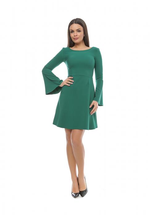 Rochie verde in clos cu maneca clopot - R592 0