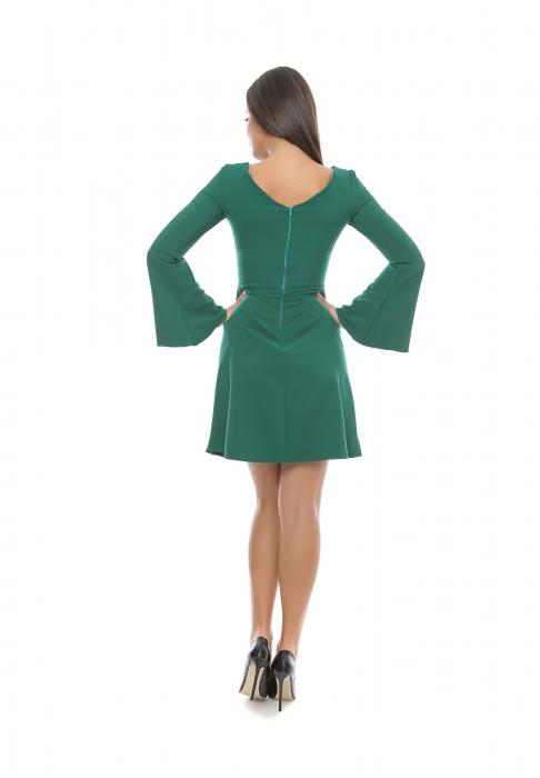 Rochie verde in clos cu maneca clopot - R592 1