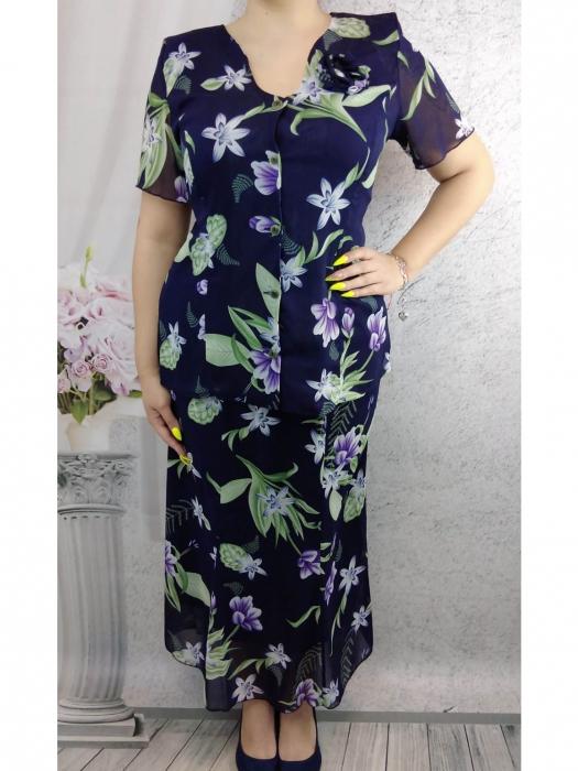 Costum dama din voal cu brosa detasabila - Rodica Floral [0]