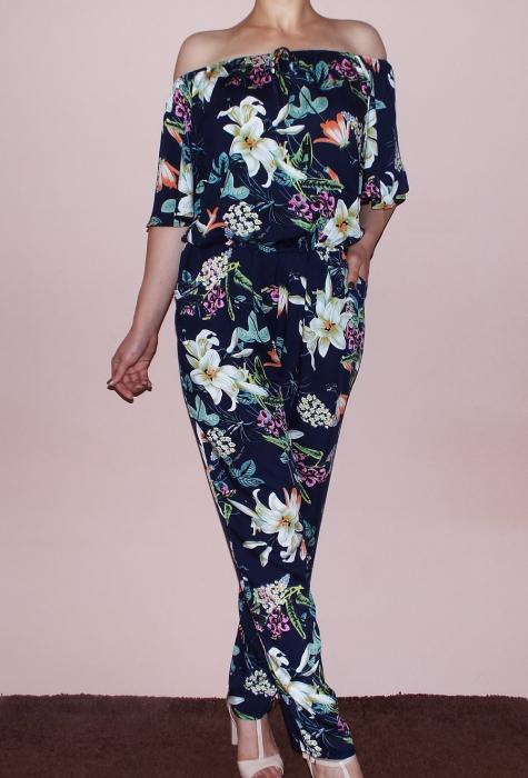 Salopeta bleumarin cu imprimeu floral si maneca scurta - Pandora Floral 0
