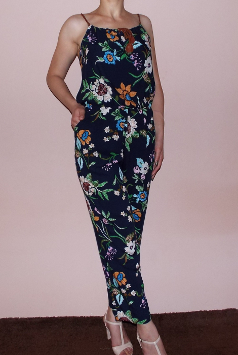 Salopeta de vara cu bretele si imprimeu floral - AMBRA 3