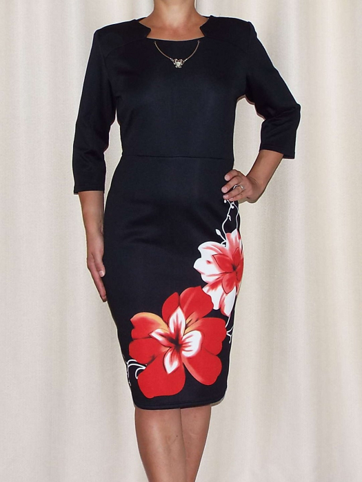 Rochie midi din jerse cu accesoriu la baza gatului - Sofia Rosu [1]