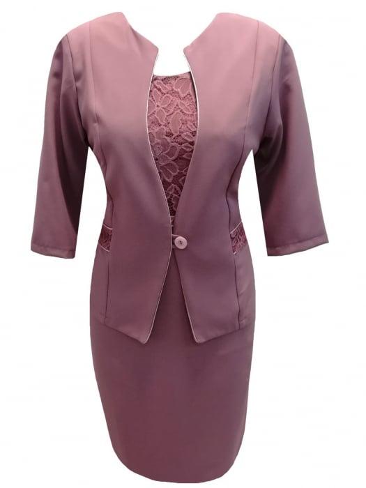 Costum dama elegant din stofa si dantela - Sonia Mov 0