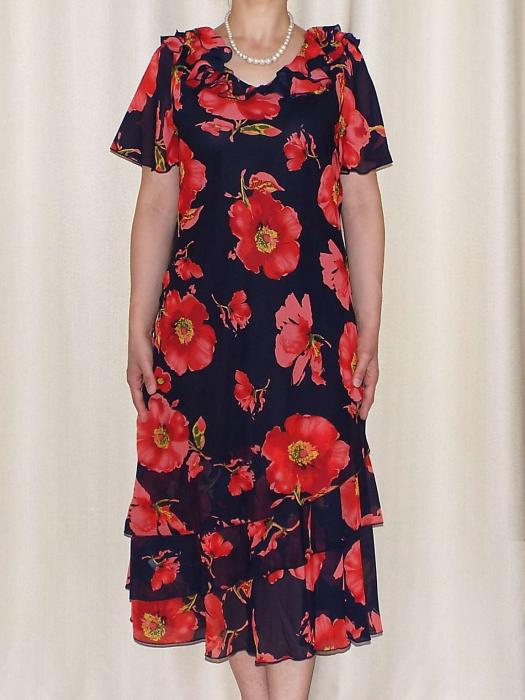 Rochie de vara din voal imprimat cu maneca scurta - Verona Rosu [0]