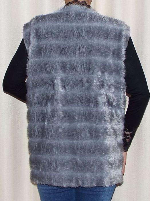 Vesta dama din blana ecologica - Melisa Gri 1