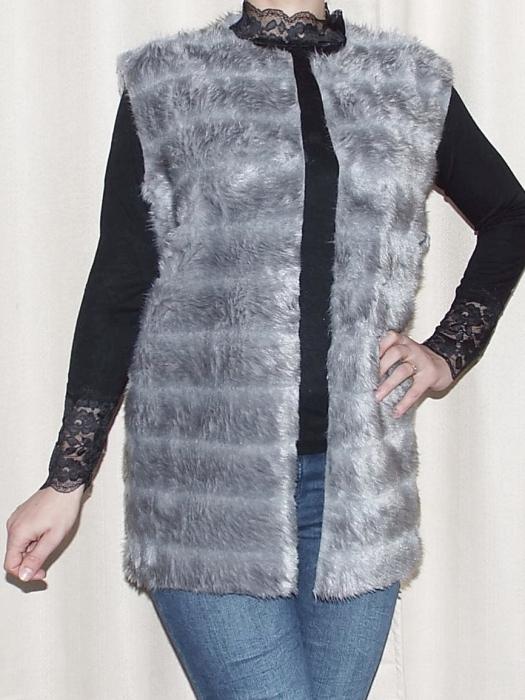 Vesta dama din blana ecologica - Melisa Gri 0