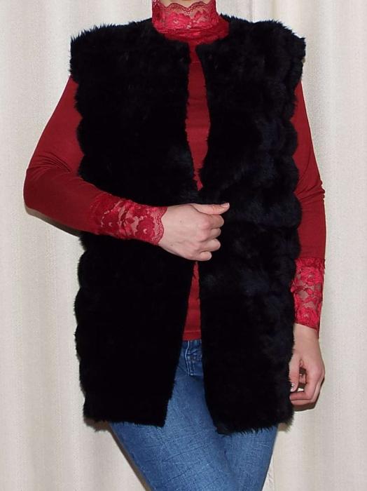 Vesta dama din blana ecologica - Melisa Negru 0