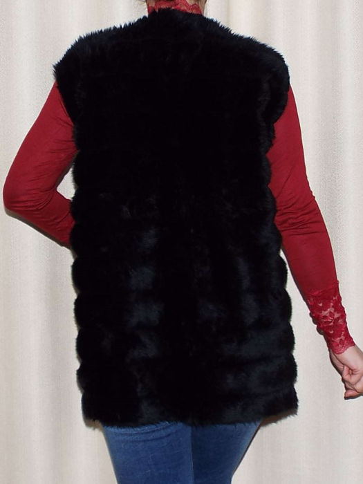 Vesta dama din blana ecologica - Melisa Negru 1