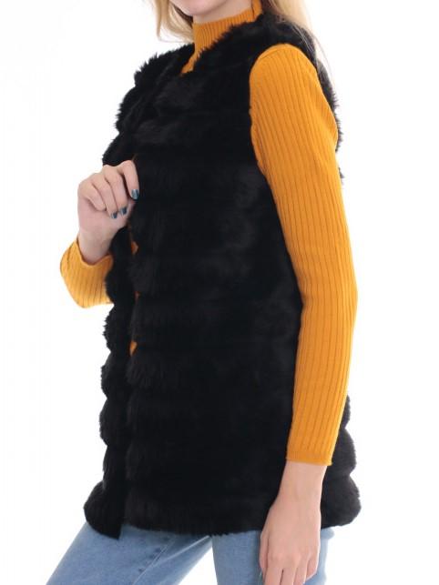 Vesta dama din blana ecologica - Melisa Negru 2 0