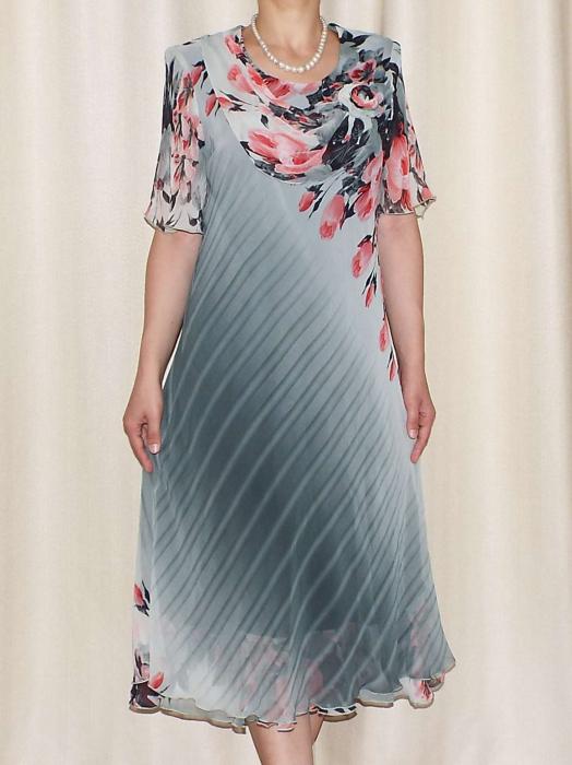 Rochie din voal cu imprimeu si maneca scurta - Victoria 13 [0]