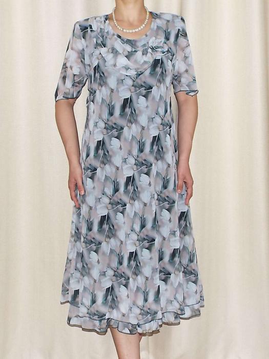 Rochie vaporoasa din voal cu imprimeu floral si brosa - Victoria 14 [0]