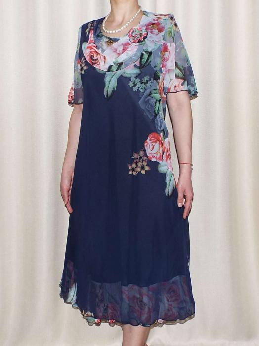 Rochie din voal fin cu imprimeu si maneca scurta - Victoria Bleumarin [0]