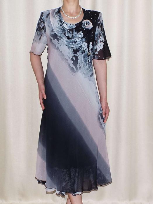 Rochie eleganta din voal cu brosa detasabila - Victoria Floral 0