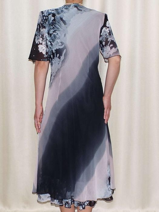 Rochie eleganta din voal cu brosa detasabila - Victoria Floral 1