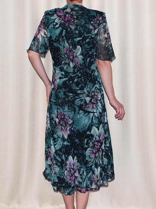 Rochie de vara din voal cu brosa detasabila – Victoria Verde 2