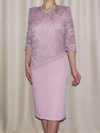 Rochie eleganta din stofa si dantela - Octavia Roz Pudra0