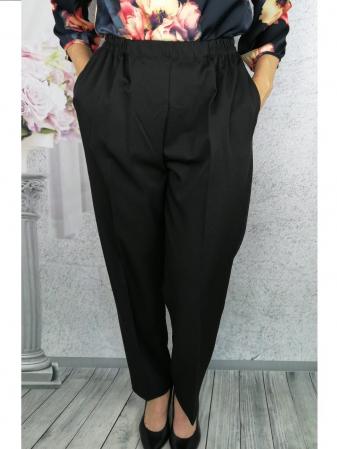 Pantaloni dama negri din stofa cu buzunare  - P0201