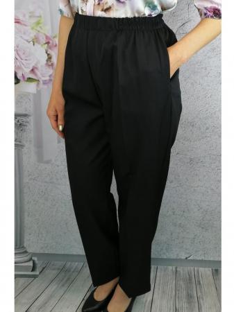 Pantaloni dama negri din stofa cu buzunare  - P0200