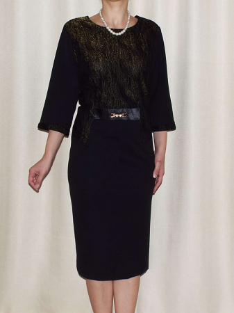 Rochie eleganta cu maneca trei sferturi si accesoriu - Andrada0