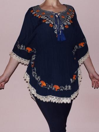 Bluza dama bleumarin cu broderie si croi lejer - Ina0