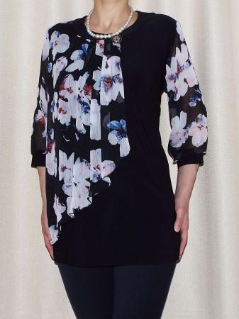 Bluza dama cu imprimeu si brosa detasabila - Sofia Negru0