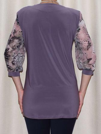 Bluza dama cu imprimeu si maneca trei sferturi - Sofia Mov1