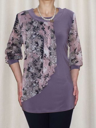 Bluza dama cu imprimeu si maneca trei sferturi - Sofia Mov0