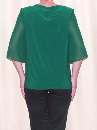 Bluza dama din voal cu brosa detasabila - Marina Verde [1]