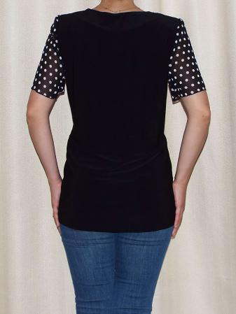 Bluza dama din voal cu buline si vascoza - Virginia Negru1