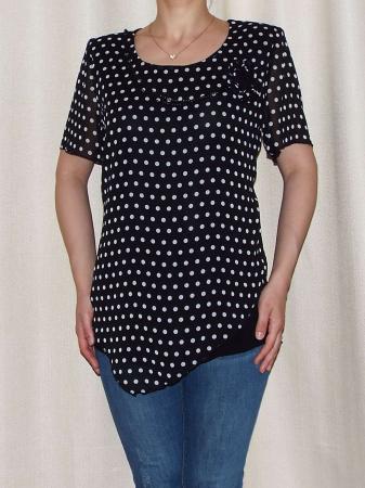 Bluza dama din voal cu buline si vascoza - Virginia Negru [0]