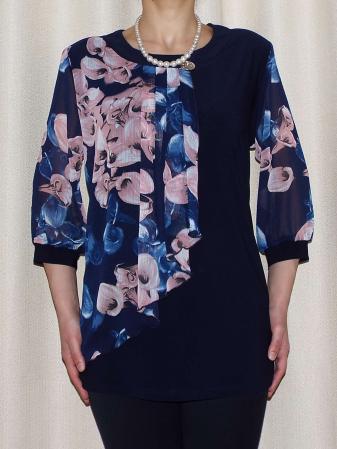 Bluza dama din voal imprimat si vascoza - Sofia Bleumarin [0]