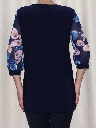 Bluza dama din voal imprimat si vascoza - Sofia Bleumarin [1]