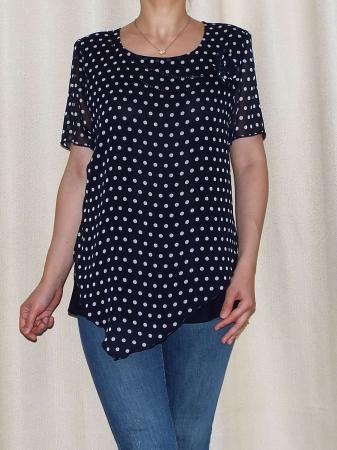 Bluza dama din voal si vascoza cu accesoriu - Virginia Bleumarin0