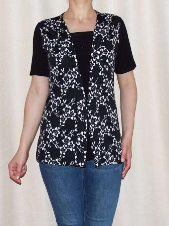Bluza dama neagra cu imprimeu floral alb - Ivana0