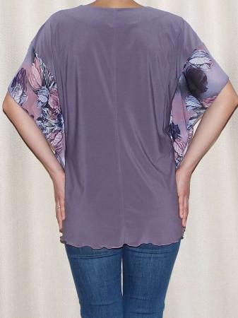 Bluza dama vaporoasa cu maneca fluture - Lisa Mov1