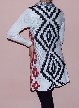Cardigan alb tricotat cu imprimeu  - CDG32