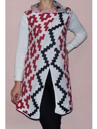 Cardigan alb tricotat cu imprimeu  - CDG30