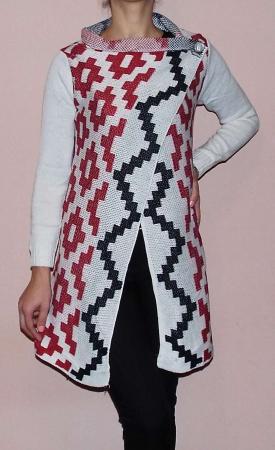 Cardigan alb tricotat cu imprimeu  - CDG31
