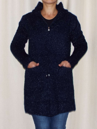 Cardigan dama tricotat bleumarin cu gluga si fermoar - C018 [2]