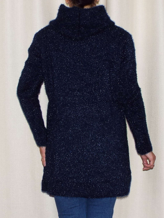 Cardigan dama tricotat bleumarin cu gluga si fermoar - C018 [3]
