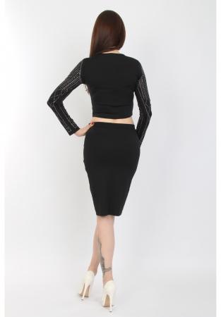 Compleu dama negru din jerse cu strasuri - C61861