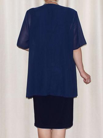 Compleul elegant dama cu maneca scurta - Ama Bleumarin [2]
